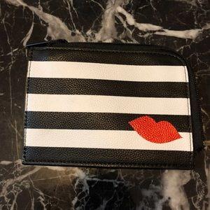 Sephora Lips KISS Zip Stripe Makeup Bag